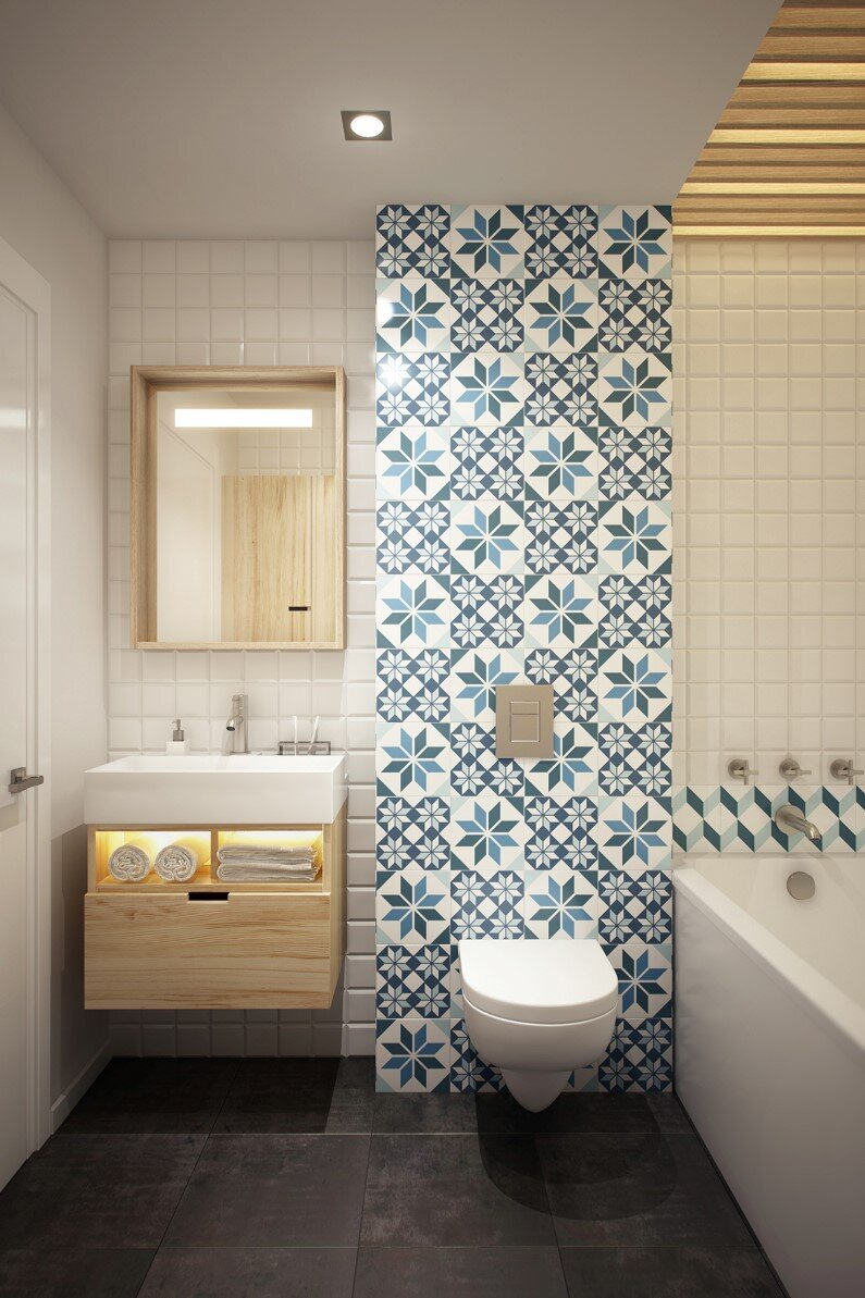 Cozy studio - 40 square meters transformed by Curly Design on Modern:kkgewzoz5M4= Small Bathroom  id=33703