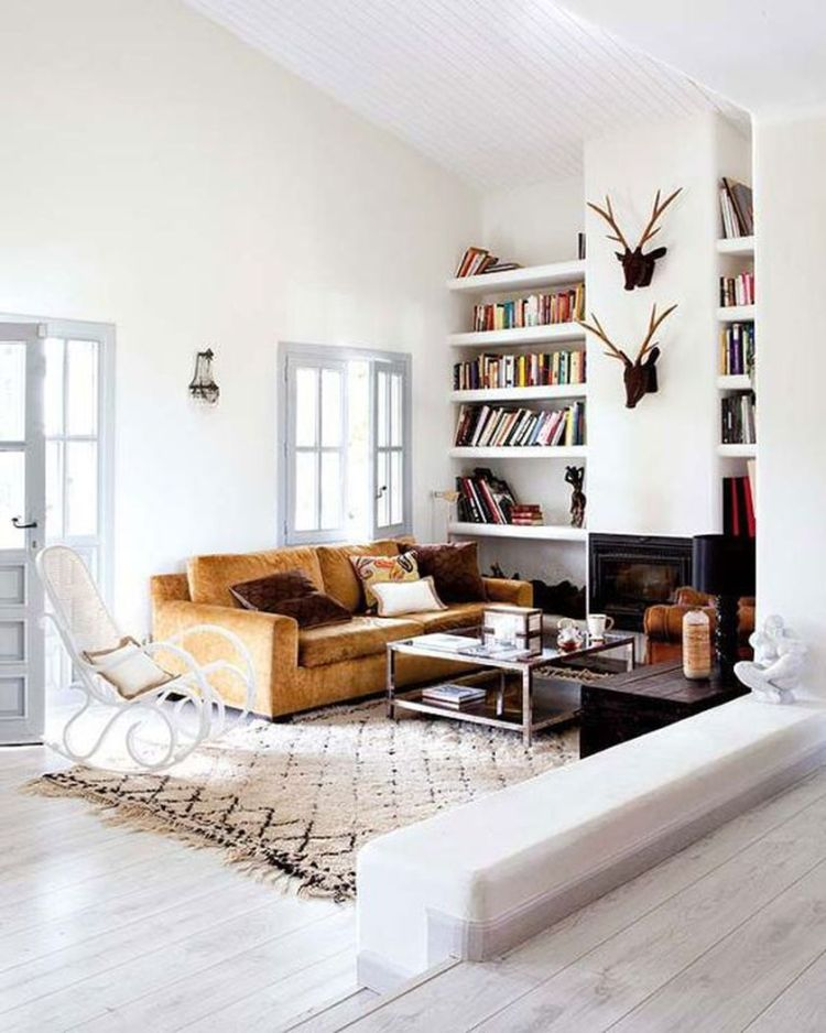 Cozy living room with rugs and low seating style 7 (source pinterest.com)