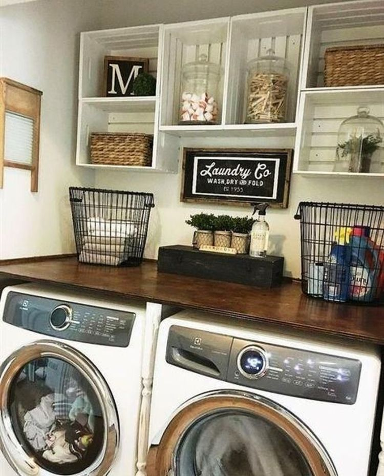 Laundry room storage with hanging shelves 4 (source pinterest.com)