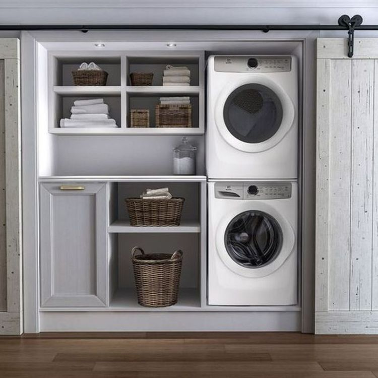 Laundry room storage with hanging shelves 5 (source pinterest.com)