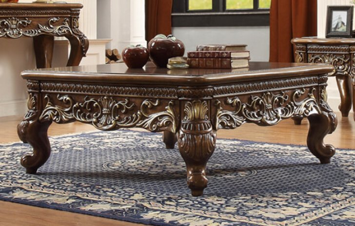 traditional rich hd 1306 coffee table in brown by homey design