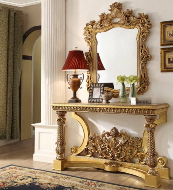 Traditional Hd 8016 Console Table In Yellow