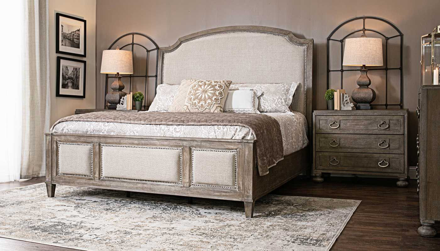Riverside 3-Piece King Bed, Dresser, Mirror & Wooden ... on Mirrors Next To Bed  id=57886
