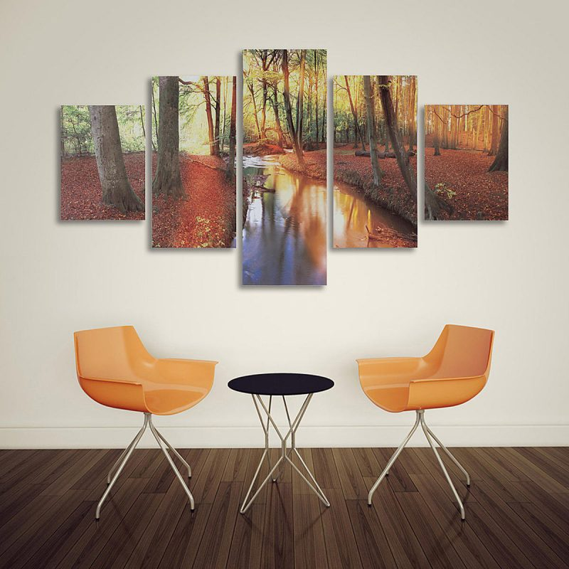5pcs modern autumn forest canvas print paintings poster wall art picture home decor unframed Sale - Banggood.com