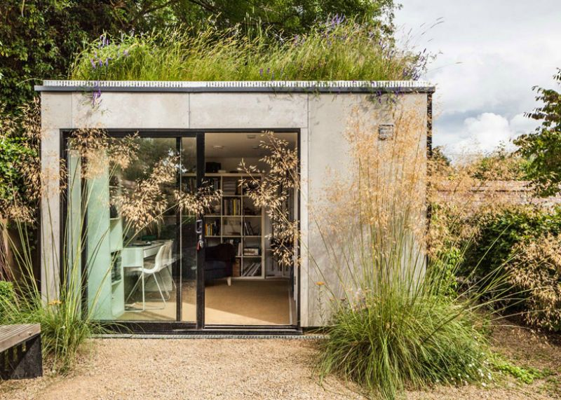 21 Modern Outdoor Home Office Sheds You Wouldn't Want to Leave   Garden studio, Green roof, Architecture