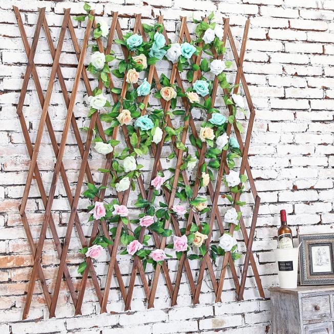 Amazon.com : MyGift Wood Lattice Garden Trellis, Plant Display Screen w/Adjustable Width, Dark Brown : Garden & Outdoor
