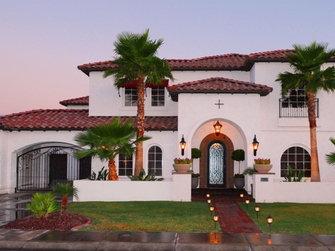 Mediterranean Home With Red Tiled Roof | White stucco house, Stucco homes,  Exterior house colors