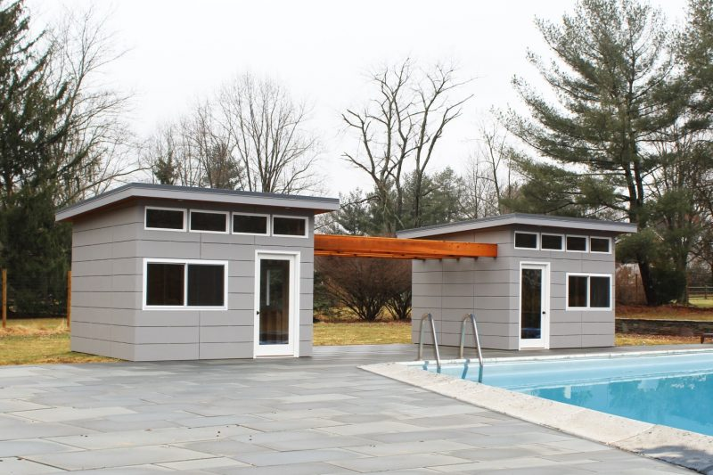 Pin by Lauren Alter on pool | Modern pool house, Modern shed, Pool house shed