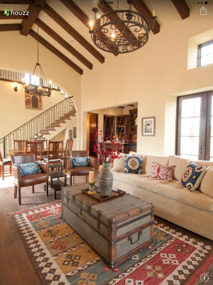 The combo of the Kilim rug/pillows, rustic chandelier, wood beams, and old  trunk gi… | Mediterranean living rooms, Mediterranean interior design,  Family room design