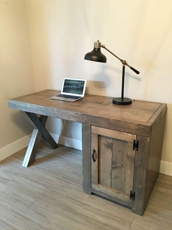 Custom desk x legs, cupboard. #rusticmeadows | Diy computer desk, Custom desk, Diy furniture