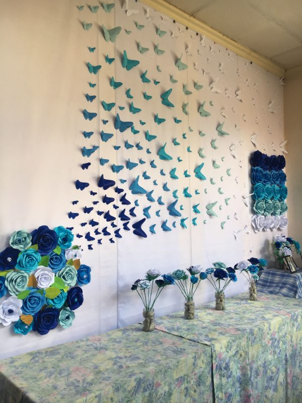 Ombre Paper Butterflies Shades of Blue by Gelle DIY Backdrop Hand-made Paper Flower by GelleDIY #Nurse…   Paper wall decor, Wall stickers bedroom, Paper room decor