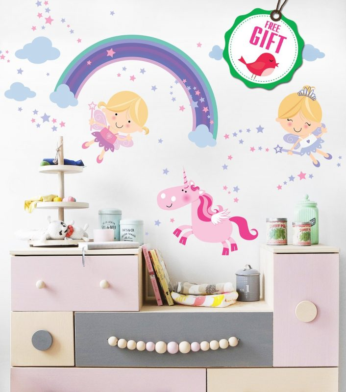 Unicorn Baby Girl Room Décor - Fairy Wall Stickers Childrens For Bedroom,  Nursery, Playroom - With Free Gift!   Unicorn Rainbow Shop