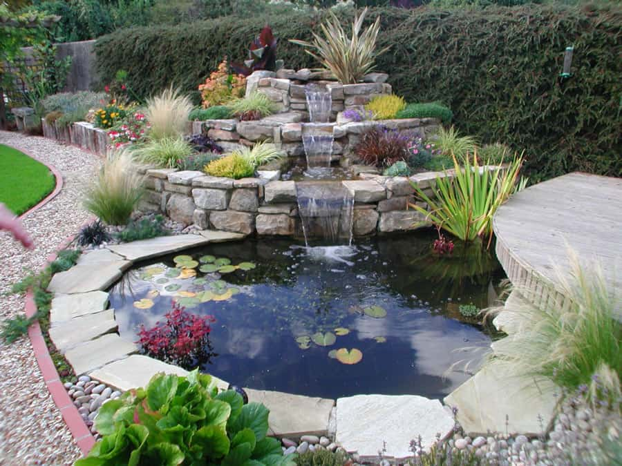 Rocks Water Pond backyard landscaping ideas