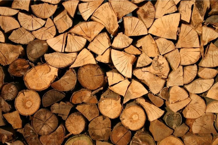 Image of a rick of wood stacked neatly
