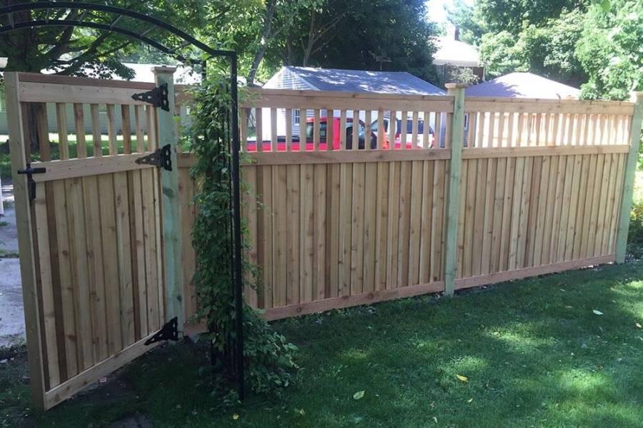 western red cedar board and batten wood fence