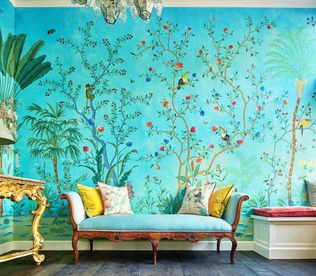 Amazing Painting Wallpaper On Livingroom 33