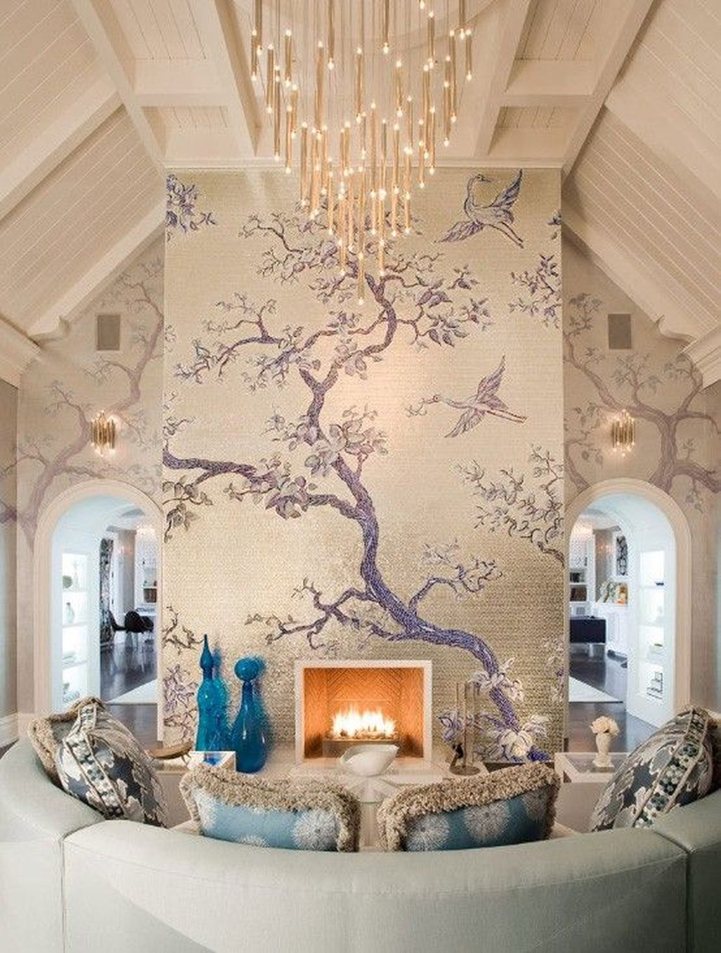 Amazing Painting Wallpaper On Livingroom 38