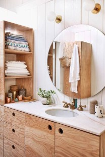 Inspiring Rustic Small Bathroom Wood Decor Design 32