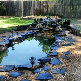 Awesome Small Waterfall Pond Landscaping Ideas Backyard08