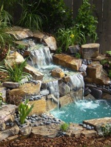 Awesome Small Waterfall Pond Landscaping Ideas Backyard17