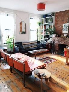 Ispiring Rustic Elegant Exposed Brick Wall Ideas Living Room11