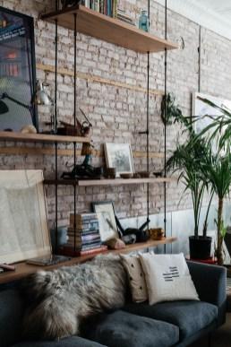 Ispiring Rustic Elegant Exposed Brick Wall Ideas Living Room23