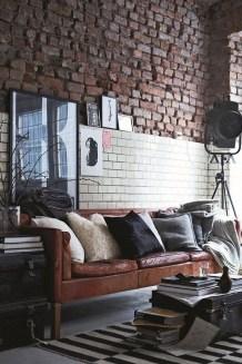 Ispiring Rustic Elegant Exposed Brick Wall Ideas Living Room36