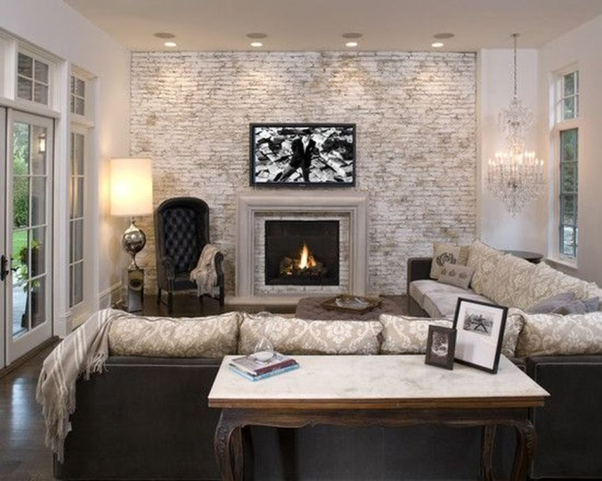 Ispiring Rustic Elegant Exposed Brick Wall Ideas Living Room43