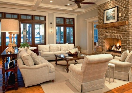 Rustic Brick Fireplace Living Rooms Decorations Ideas01