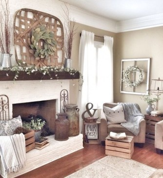 Rustic Brick Fireplace Living Rooms Decorations Ideas02