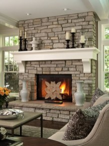 Rustic Brick Fireplace Living Rooms Decorations Ideas30