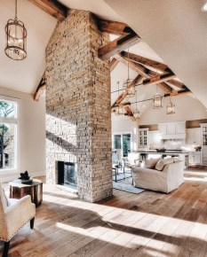 Rustic Brick Fireplace Living Rooms Decorations Ideas31