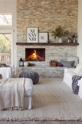 Rustic Brick Fireplace Living Rooms Decorations Ideas37