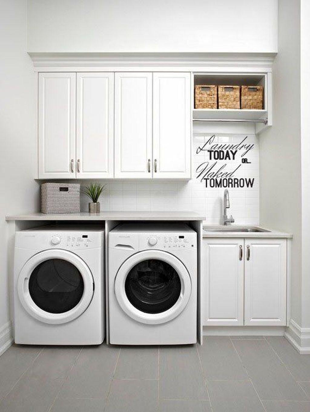 50 Amazing Laundry Room Tile Design - HOMISHOME on Amazing Laundry Rooms  id=77595