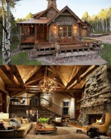 Gorgeous Log Cabin Style Home Interior Design20