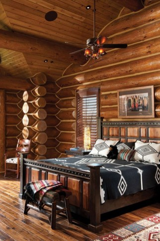 Gorgeous Log Cabin Style Home Interior Design35