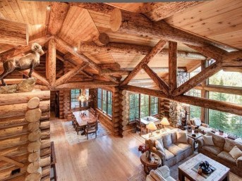 Gorgeous Log Cabin Style Home Interior Design36