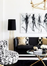 Wonderful Black White And Gold Living Room Design Ideas02