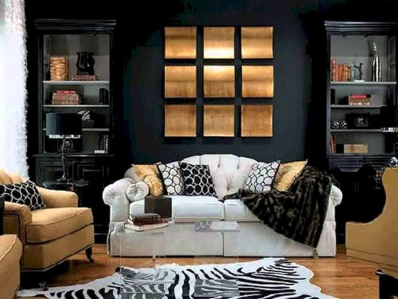 Wonderful Black White And Gold Living Room Design Ideas23