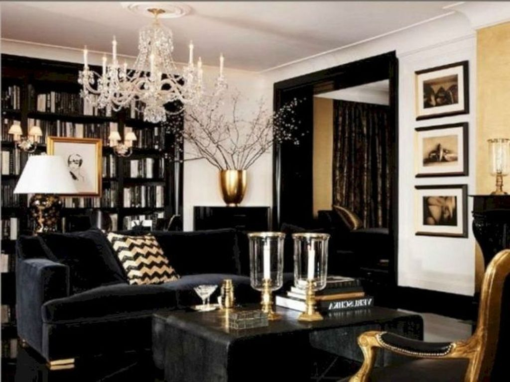 Wonderful Black White And Gold Living Room Design Ideas32