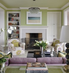 Awesome Living Room Green And Purple Interior Color Ideas13