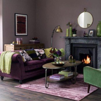 Awesome Living Room Green And Purple Interior Color Ideas14