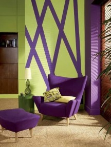 Awesome Living Room Green And Purple Interior Color Ideas20