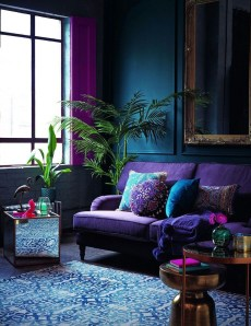 Awesome Living Room Green And Purple Interior Color Ideas37