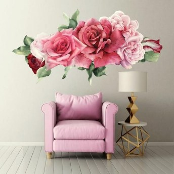Fabulous Rose Wall Painting Design Ideas For You To Try In Home30