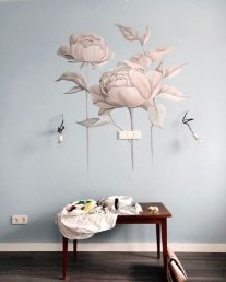 Fabulous Rose Wall Painting Design Ideas For You To Try In Home34