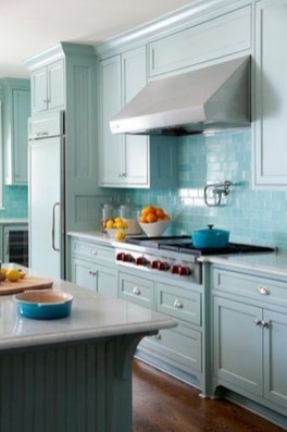 Impressive Gray And Turquoise Color Scheme Ideas For Your Kitchen16