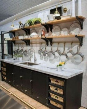 Wonderful Industrial Kitchen Shelf Design Ideas To Organize Your Kitchen18