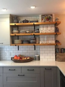 Wonderful Industrial Kitchen Shelf Design Ideas To Organize Your Kitchen38