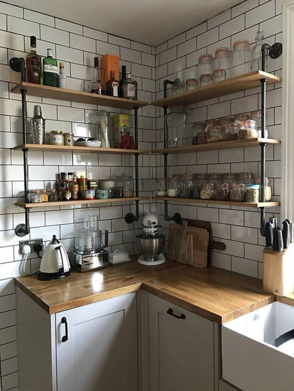 Wonderful Industrial Kitchen Shelf Design Ideas To Organize Your Kitchen43